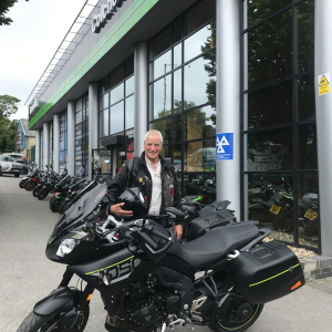 Anthony collecting his Triumph Tiger Sport