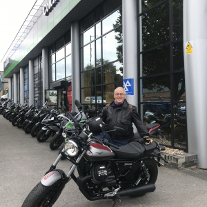 Charles collecting his Moto Guzzi V9 Bobber