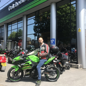 Chris collecting his Kawasaki Ninja 400