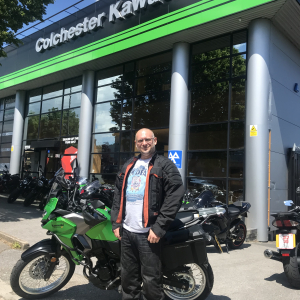Colin collecting his Versys 300 Adventure